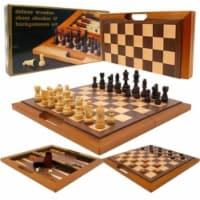 Trademark Global 12-2157 Deluxe Wooden Chess, Checker & Backgammon Set, Brown - 1