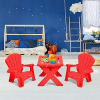 Plastic Children Kids Table & Chair Set 3-Piece Play Furniture In/Outdoor Red - 1 unit