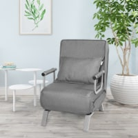 Costway Folding 5 Position Convertible Sleeper Bed Armchair Lounge Couch w/ Pillow Gray