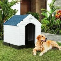 Gymax Plastic Dog House Medium-Sized Pet Puppy Shelter Waterproof Ventilate Blue - 1 unit