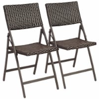 Costway Set of 2 Patio Rattan Folding Dining Chairs Portable Garden Yard Brown - 1 unit