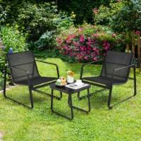 Costway 3PCS Patio Bistro Furniture Set Glass Top Table Garden Deck Black - 1 unit