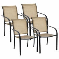Costway Set of 4 Patio Dining Chairs Stackable Armrest Backrest no Assembly - 1 unit