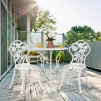 Costway 3PCS Cast Aluminum Patio Bistro Furniture Set Rose Design Outdoor White - 1 unit
