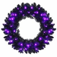 Costway 24inch Pre-lit Christmas Halloween Wreath Black w/ 35 Purple LED Lights - 1 unit