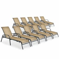 Costway 10PCS Patio Lounge Chair Chaise Adjustable Recliner Stack No Assembly - 1 unit