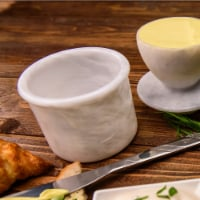Butter Dish Cover Pot White Handmade Marble Butter Storage Crock Keeper for Kitchen - 1