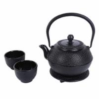 Black Cast Iron Tea Kettle Set for 2, Dutch Hobnail Design with Trivet, Two Cups - 1200 mL - Pack