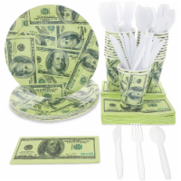 24 Set Party Supplies Disposable Dinnerware, Paper Plates Cups Napkins $100 Bill - PACK