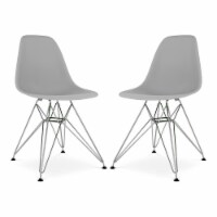 Aron Living Tower 17  Plastic and Chrome Steel Dining Chairs in Gray (Set of 2) - 1