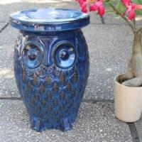Catalina Wise Owl Ceramic Garden Stool - 1
