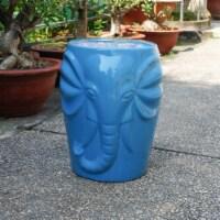 Wild Elephant Drum Ceramic Gardn Stool - Blue
