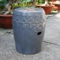 Tasseled Drum Ceramic Garden Stool - Gey