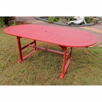 Royal Fiji 59-inch / 79-inch Acacia Oval Extendable Dining Table w/Fold Out Leaf - Barn Red - 1