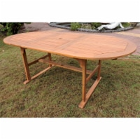 Royal Fiji 59 in/79 in Acacia Oval Extendable Dining Table with Fold Out Leaf - Rustic Brown - 1