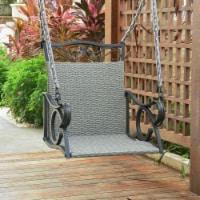 Valencia Resin Wicker/ Steel Hanging Chair Swing - Grey - 1