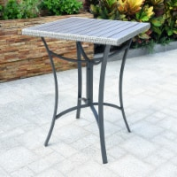 Barcelona Resin Wicker/ Aluminum 32-inch Square Outdoor Bar Table - Grey - 1