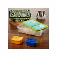 Fit & Fresh 841JL409 Surf Print Bento Lunch Box Set with Insulated Carry Bag, Green - 1