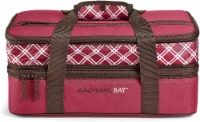 Rachael Ray Expandable Lasagna Lugger - Plaid Burgundy