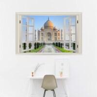 VWAQ - Taj Mahal Wall Art Decal 3D Window View Sticker Peel and Stick Scenic Mural - NWT16 - 1