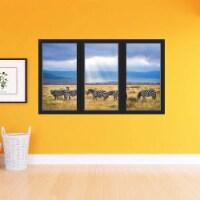 VWAQ - Zebra Wall Art Decal - 3D Office Window Safari Sticker African Savannah Decor - OW18 - 1