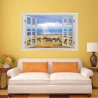 VWAQ - Zebra Wall Decal - 3D Safari Sticker African Savannah Window View Decor - NWT18 - 1