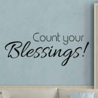 VWAQ Count Your Blessings Wall Decal Sticker - Inspirational Faith Quote Decor - 1