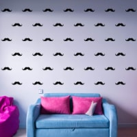 VWAQ Mustaches Wall Decals - Kids Room Stickers Peel and Stick - Pack of 39 PCS - 1