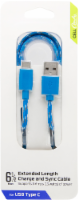 CELLCandy Braided USB-C Charging Cable - Blue/Silver