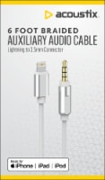 Acoustix 3.5mm to Apple Lightning Braided Auxillary Cable - White