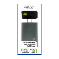 ZGear 2-in-1 Power Bank with Detachable Wall Charger - Black/Gray