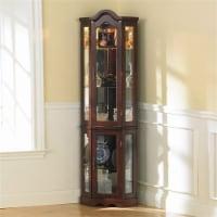 Pemberly Row Mahogany Lighted Corner Curio Cabinet - 1