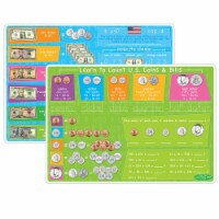 Smart Poly™ Learning Mats, 12  x 17 , Double-Sided, U.S. Currency, Pack of 10 - 1