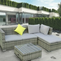 ALEKO RF3NGRAY-UNB Rattan Wicker Indoor & Outdoor Sectional Furniture Lounge & Storage Table