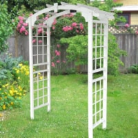Aleko WARCH01WH-UNB Outdoor Wooden Garden Arbor with Trellis Sides for Climbing Plants, White