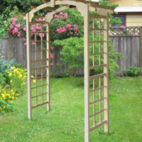Aleko WARCH01-UNB Outdoor Wooden Garden Arbor with Trellis Sides for Climbing Plants - 1