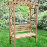 Aleko WARCH02-UNB Outdoor Wooden Garden Arbor with Leisure Bench & Trellis Sides for Climbing - 1