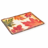 Boston International CFA18600 Leaf Glass Rectangle Platter - 13.5 x 10 x 3.4 in.