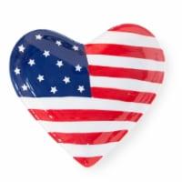 Boston International KAC20092 5.5 in. Patriotic Heart Shape Ceramic Plate - Set of 2