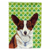 Carolines Treasures  LH9198-FLAG-PARENT Corgi St. Patrick's Day Shamrock Portrai