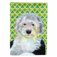 Old English Sheepdog St. Patrick's Day Shamrock Portrait Flag