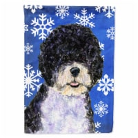 Portuguese Water Dog Winter Snowflakes Holiday Flag Garden Size