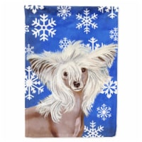 Carolines Treasures  LH9302GF Chinese Crested Winter Snowflakes Holiday Flag Gar - Garden Size