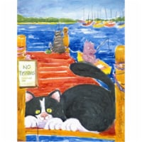 Carolines Treasures  6001CHF Black and White Cat  No Fishing Flag Canvas House S