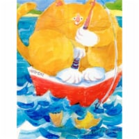 Carolines Treasures  6014CHF HMS Orange Tabby Fishing Cat Flag Canvas House Size