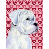 Boxer Hearts Love and Valentine's Day Portrait Flag Canvas House Size - House Size