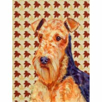 Carolines Treasures  LH9111CHF Airedale Fall Leaves Portrait Flag Canvas House S