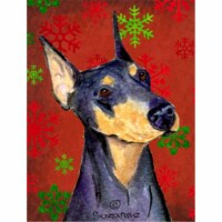 Doberman Red and Green Snowflakes Holiday Christmas Flag Canvas House Size