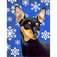Carolines Treasures  LH9290CHF Min Pin Winter Snowflakes Holiday Flag Canvas Hou - House Size