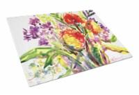 Carolines Treasures  6042LCB Flower Glass Cutting Board Large
